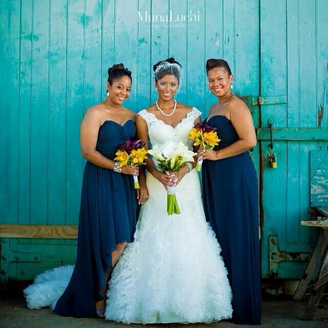 Jamaican Wedding Hairstyles: Navy Blue Bridesmaid's Dresses