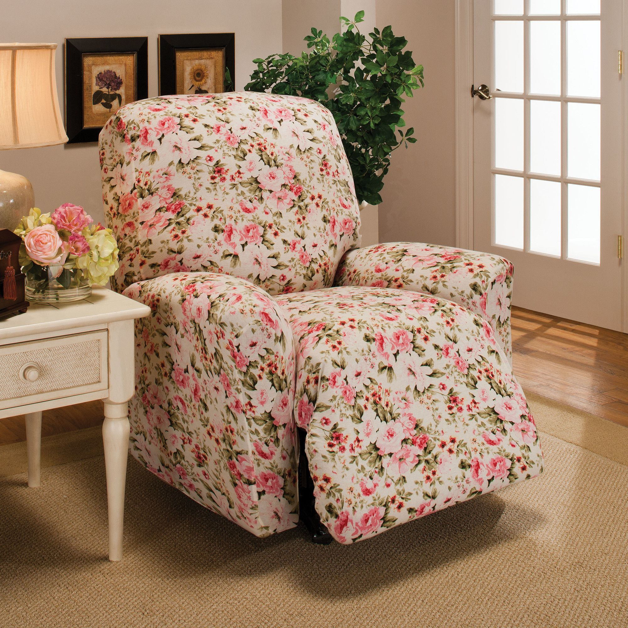 recliner recliners today for product sure fit stretch home stripe free overstock slipcovers slipcover shipping garden
