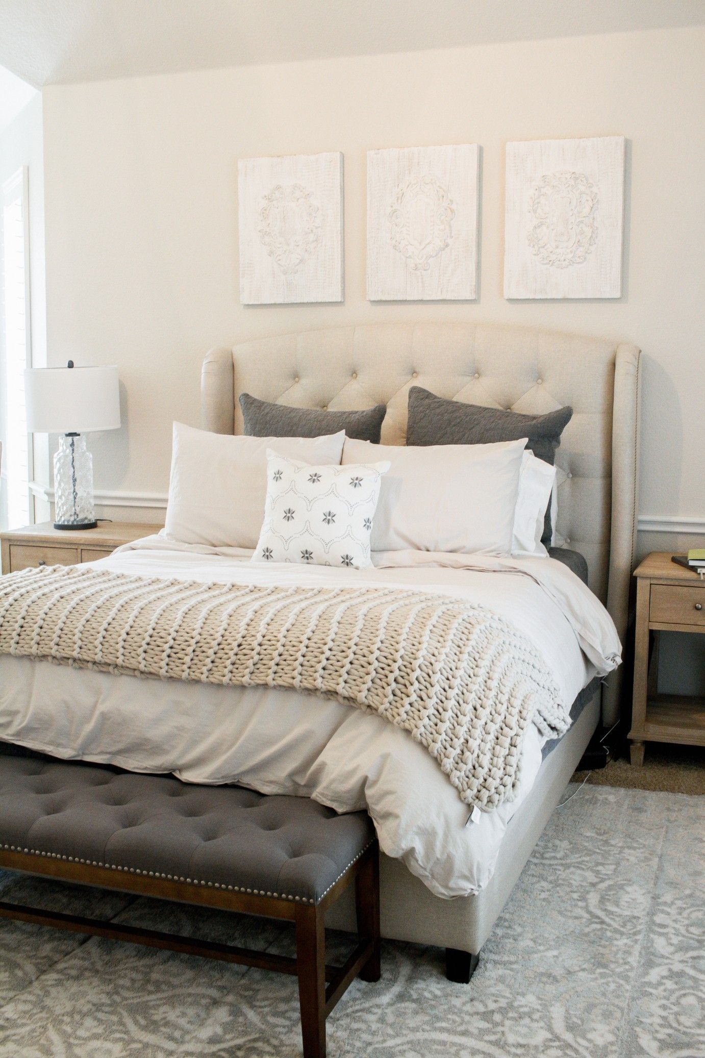 Get The Look Cozy Neutral Master Retreat Farmhouse Living Rustic Master Bedroom Elegant Master Bedroom Bedding Master Bedroom
