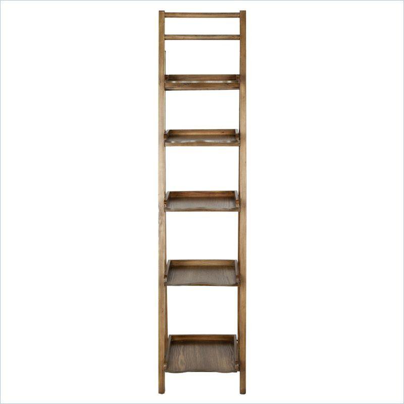 Safavieh Asher Pine Wood Leaning Etegere In Oak Bookcase Ladder