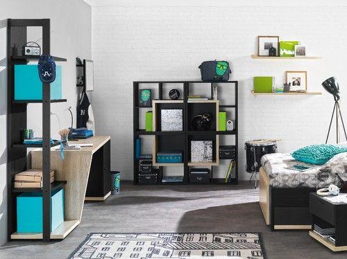 Jugendzimmer schwarz/helles Holz, Türkis, grün | Wohnen ...