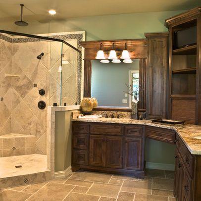 L Shaped Bathroom Vanity Design | Traditional Home Corner Vanity ...