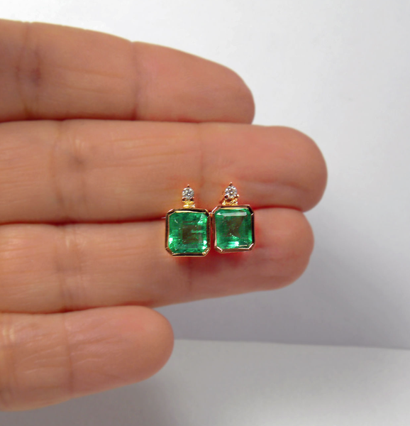 2.00CT Round Shape Real 14KT Yellow Gold Natural Green Emerald Anniversary Studs