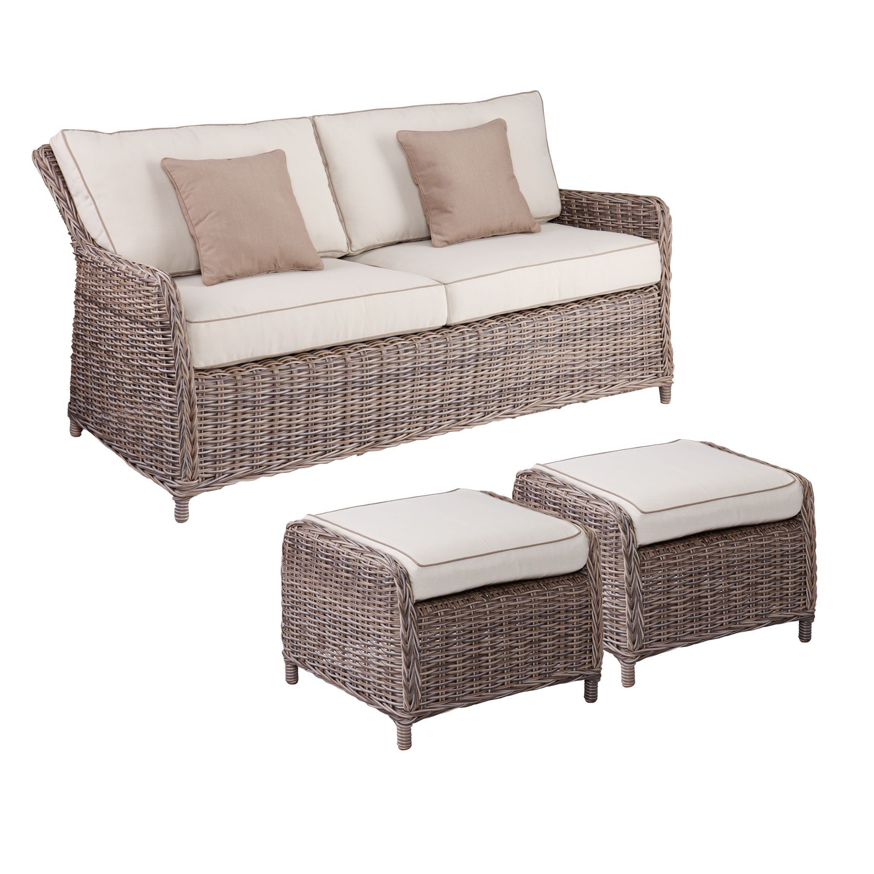 Harper Blvd Imperial Outdoor 2 5 Seater Sofa and Ottoman 3pc Set