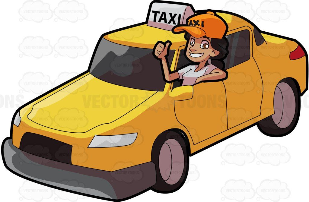 A Female Taxi Driver Gesturing An Approval Sign Taxi Driver Taxi Car Cartoon