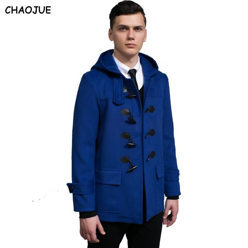 Mens Hooded Duffle Style Overcoat - Royal Blue | Men's Clothing ...