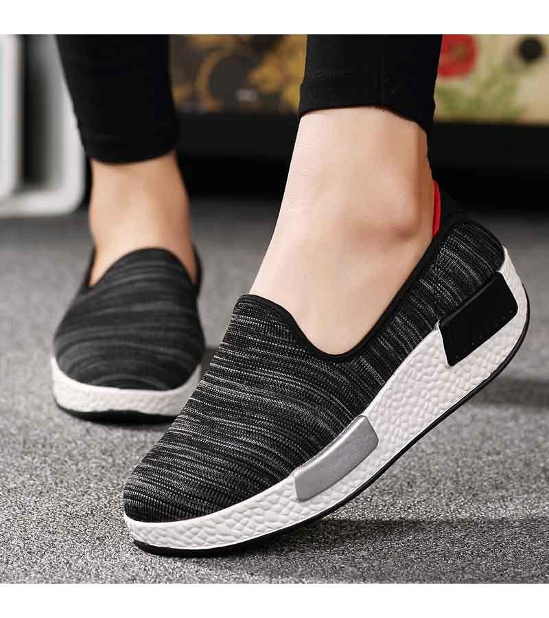 Women S Black Slip On Rocker Sole Shoe Sneakers Pattern Design Pattern Vamp Flyknit Fabric Sho Loafer Shoes Women Rocker Bottom Shoes Womens Fashion Shoes