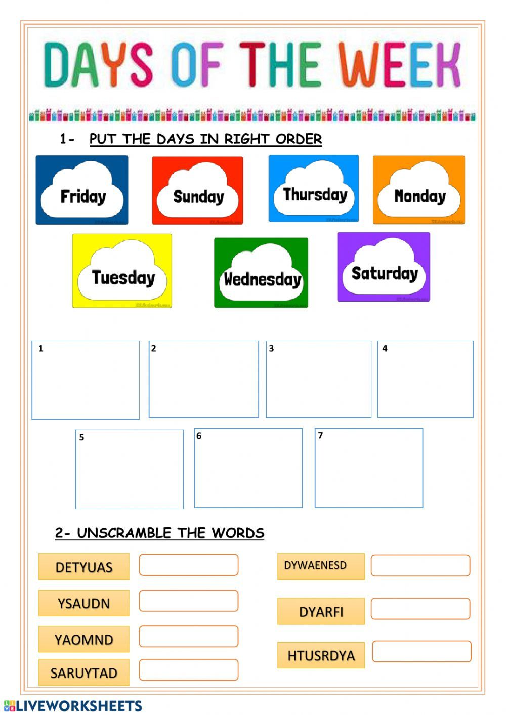 Days Of The Week Interactive And Downloadable Worksheet You Can Do The Exercises Onl English Worksheets For Kids English As A Second Language Preschool Charts Number chart worksheets days