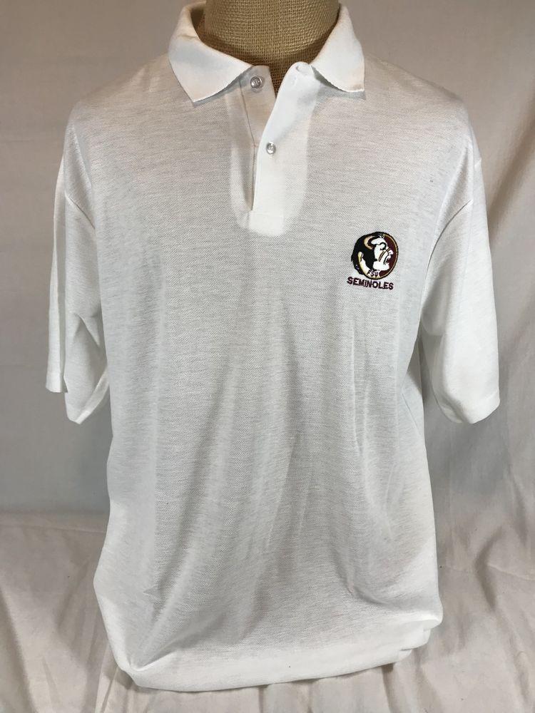 ae97e6ec32c Florida State University Polo Shirt FSU Seminoles Embroidered Logo White  XXL USA | eBay