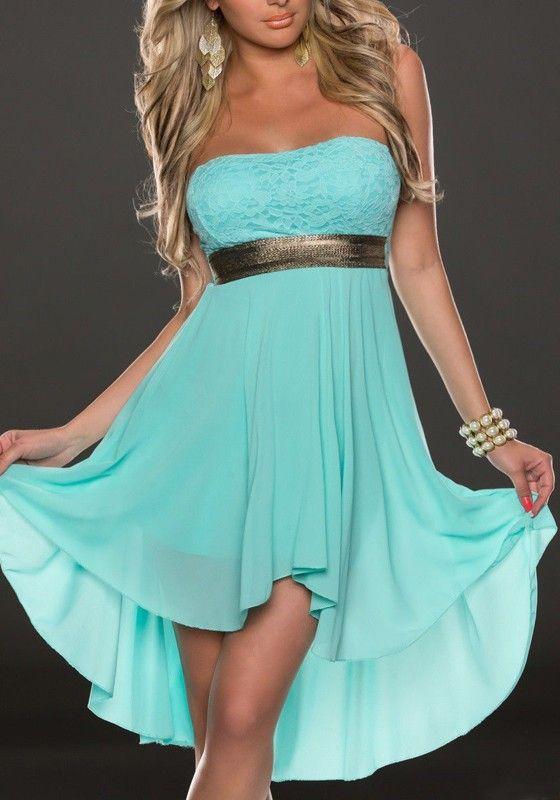 a68656c3a622 Tiffany Blue Irregular Swallowtail Bandeau Off Shoulder High-low Bridesmaid  Party Chiffon Mini Dress
