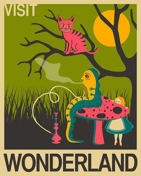 Alice in Wonderland: Visit Wonderland Art Print by Jazzberry