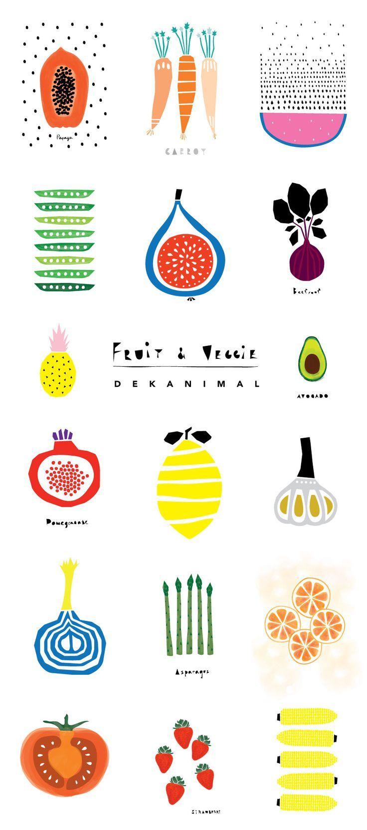 Dekanimal Art illustration kid's room decor Fruits and Veggies print Home decor Nursery print Kitchen art