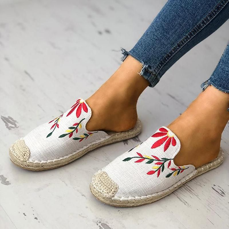 631a77998d92 Women Fashion Embroidered Espadrille Flat Slippers Shoes – Mollyca ...