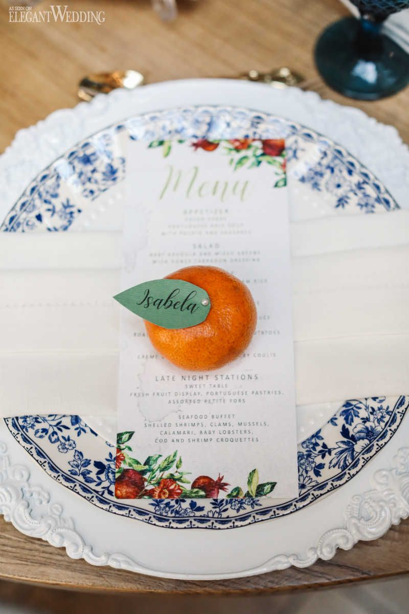 Tangerine Wedding Ideas, Tangerine Wedding Name Cards, Red Floral ...