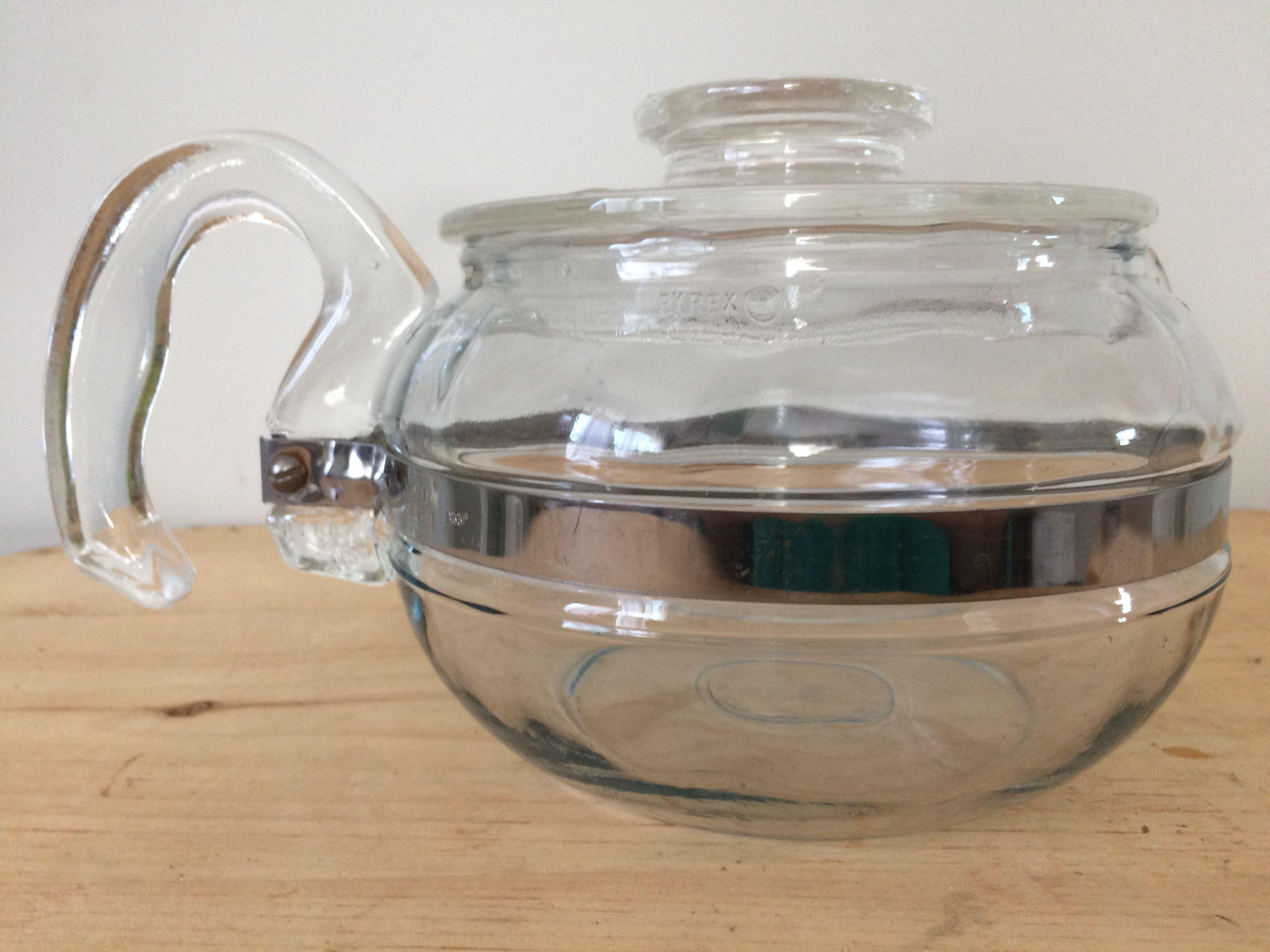 vintage pyrex glass flameware tea pot kettle 6 cup coffee stove top