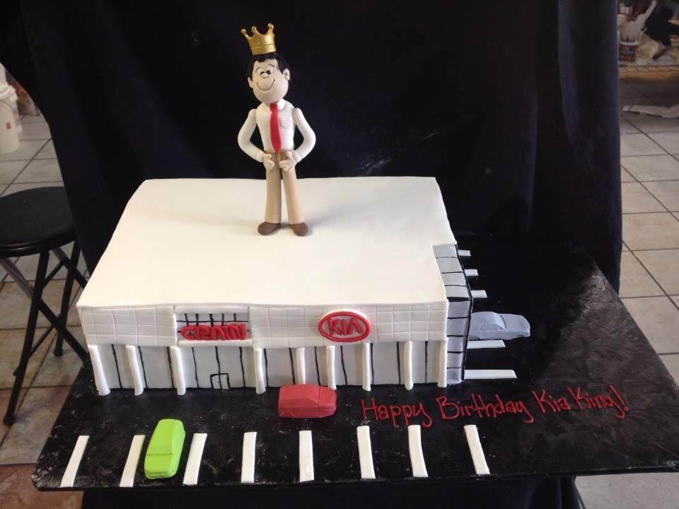 3D Car Dealership cake, Designed by Sam Lucero, Blue Cake