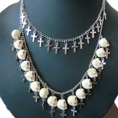 Vintage Skull and Cross Pendant Double Layered Necklace For Women