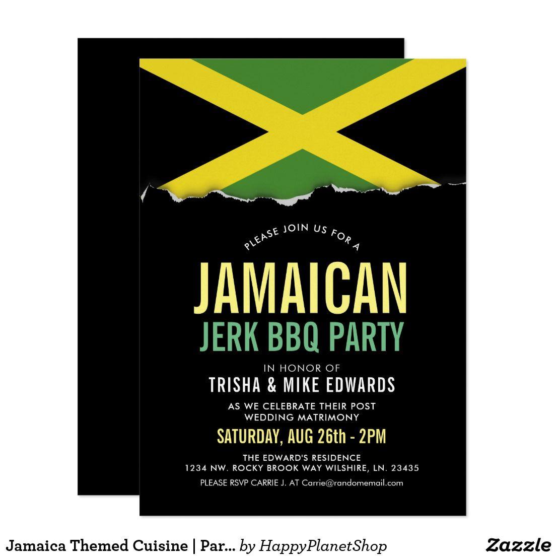 Jamaica themed cuisine party flag invite