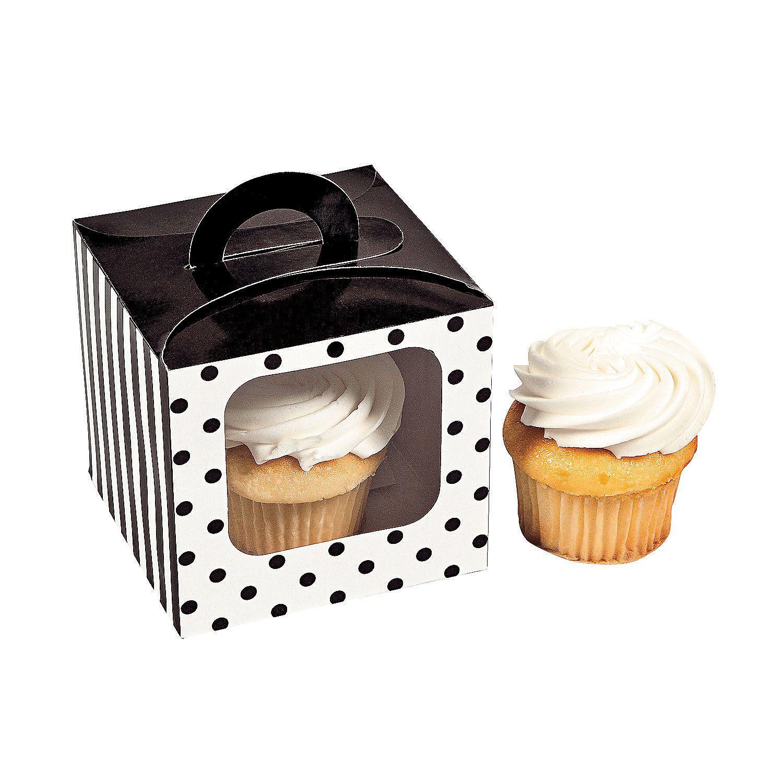 Black polka dot cupcake boxes with handle
