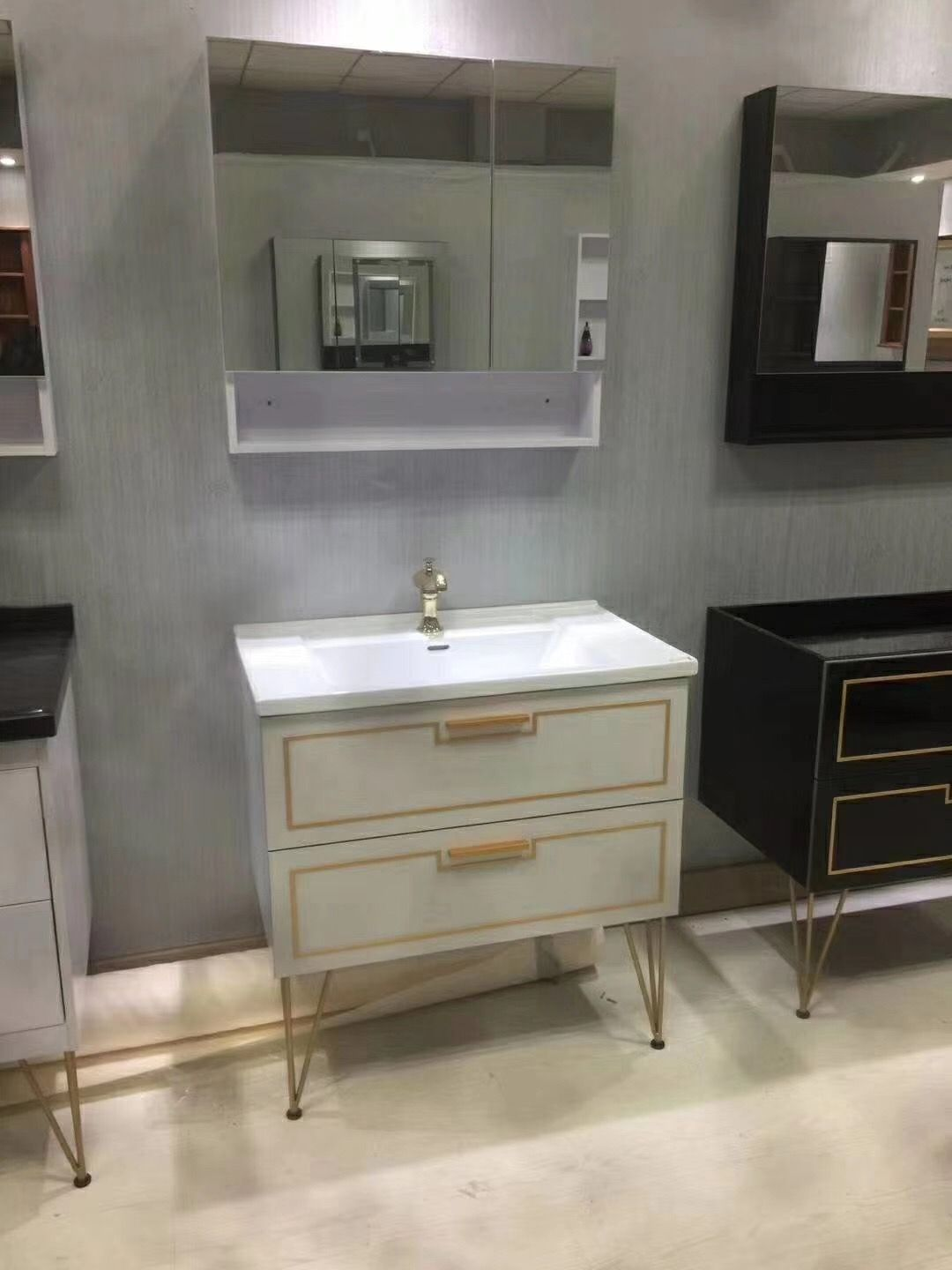 White Color Bathroom Vanity With Legs With Medicine Cabinet Led