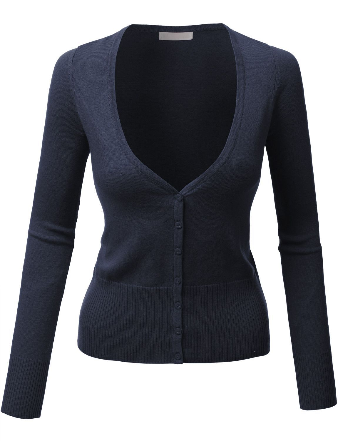 Womens Lightweight Long Sleeve V Neck Knit Cardigan with Stretch ...