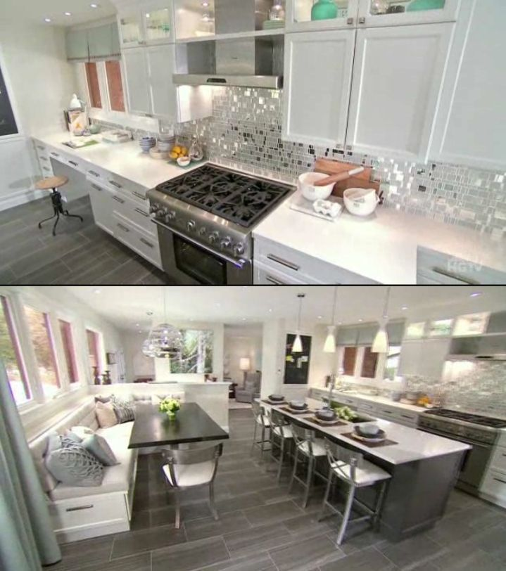 Shiny Kitchen Backsplash By Candice Olson Makes This White Kitchen