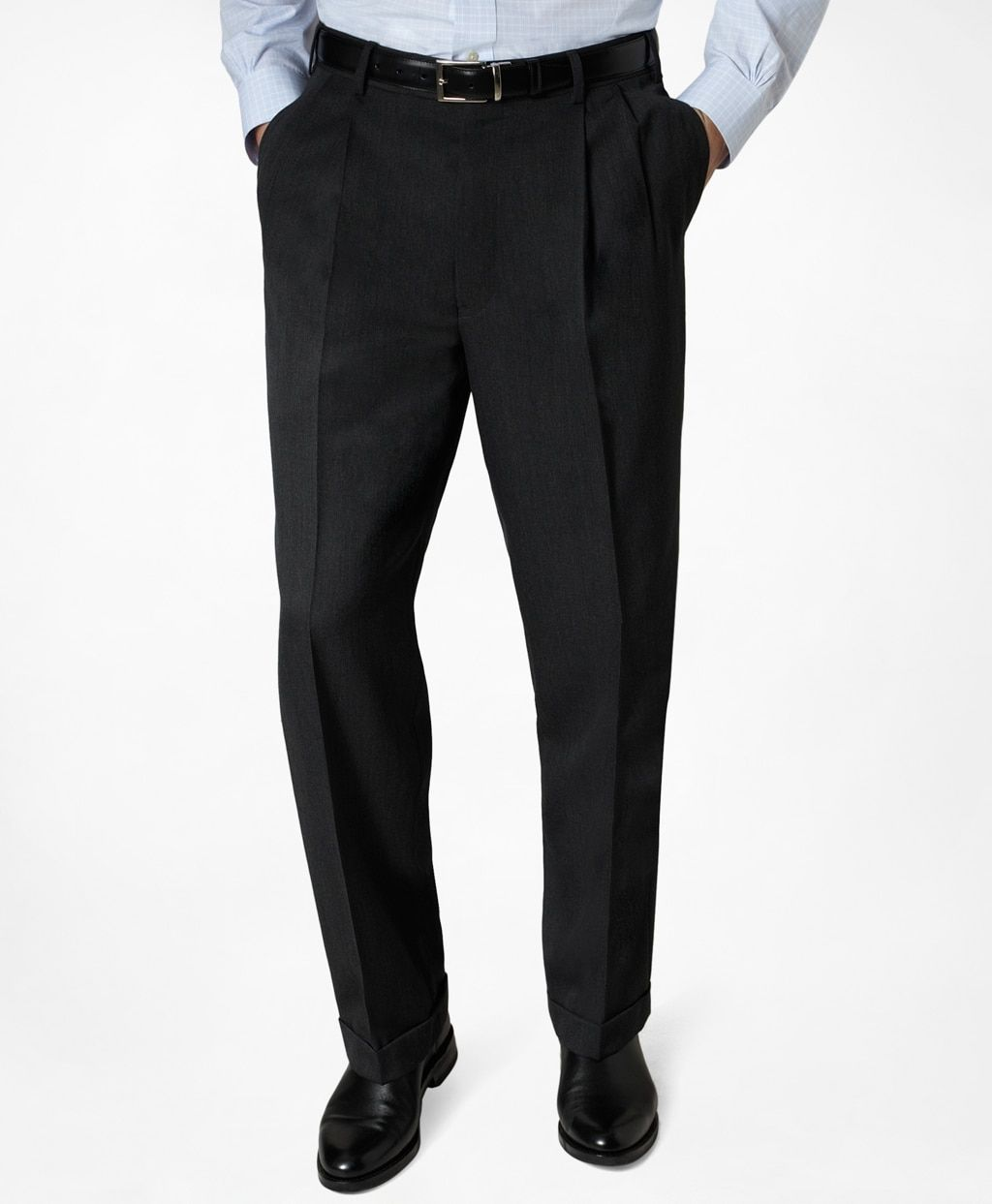 Men S Regular Fit Pleat Front Classic Gabardine Pants Brooks Brothers In 2021 Black Dress Pants Men Black Slacks Men Black Pants Men [ 1243 x 1024 Pixel ]