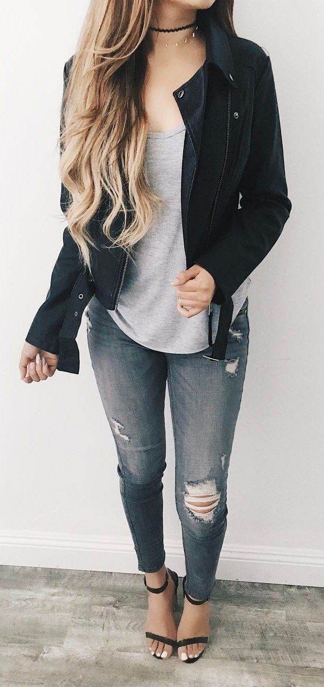 79ae8a02ea8 street style perfection / black biker jacket + top + ripped jeans + heels