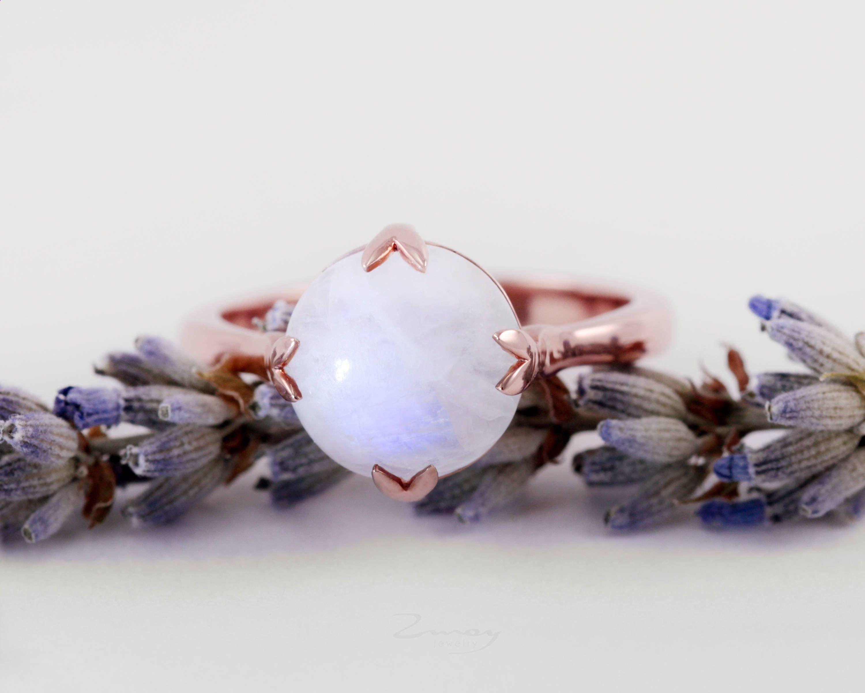 Dainty moonstone ringmoonstone engagement ringrose gold moonstone