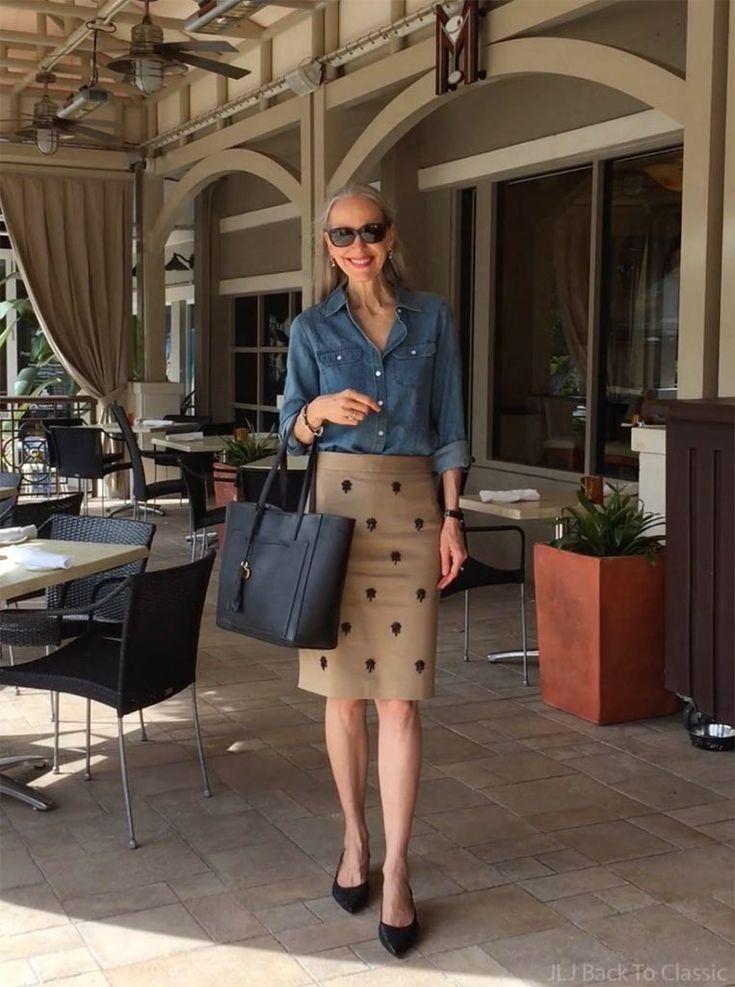 (Vlog) Jeanshemd & britisch-khaki verzierter Bleistiftrock OOTD; Mittagessen im M Waterfront Grille im Village in der Venetian Bay / Klassische Mode Stil über 40 50#hair
