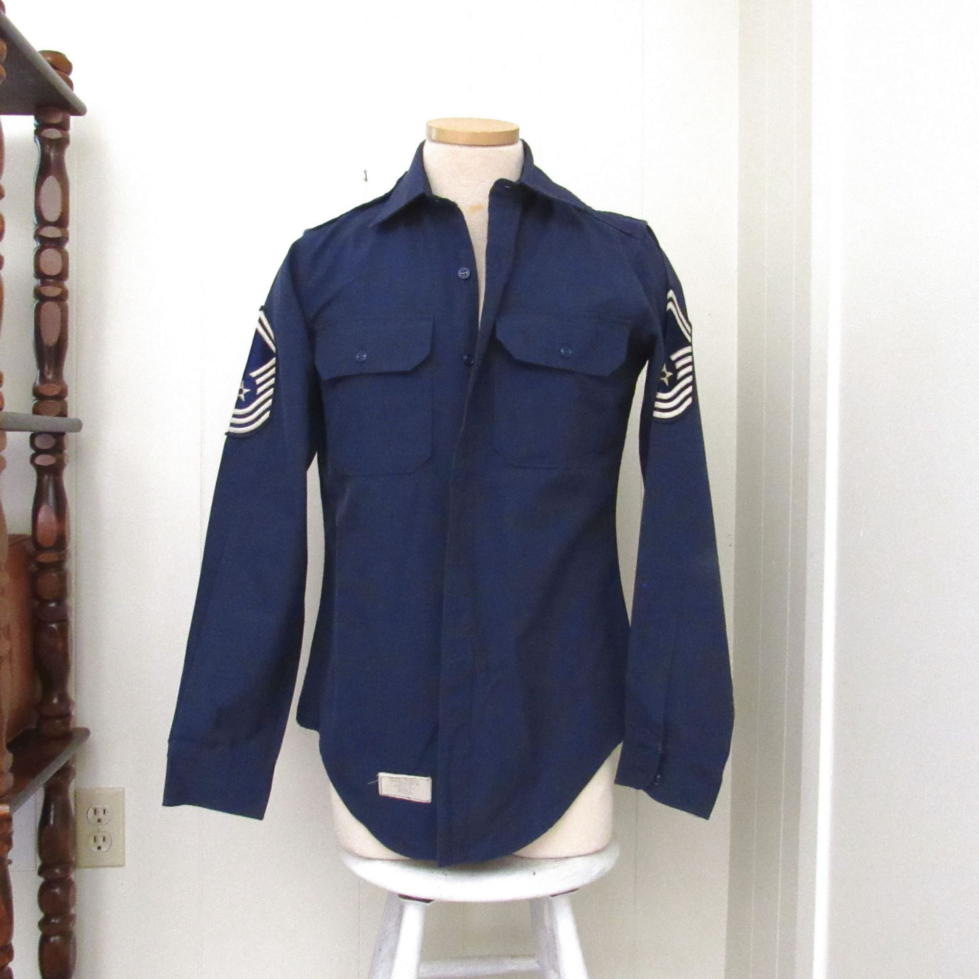 US Air Force Shirt Vintage Long Sleeve Button Up Navy