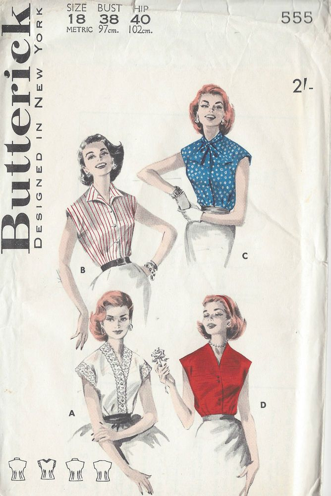 1950s Vintage Sewing Pattern B38 BLOUSE (1003) #Butterick | Sewing ...