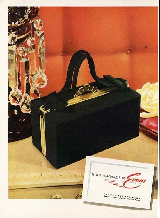 9f2d2aba20 1945 Evans Handbag Ad Purse in Black and Gold Advertisement
