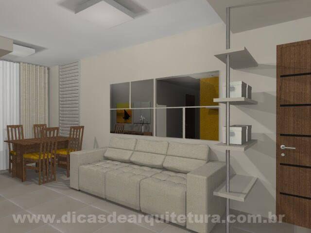 Projeto de salas de TV e jantar. http://dicasdearquitetura.com.br/sala-de-tv-e-jantar-comprida/
