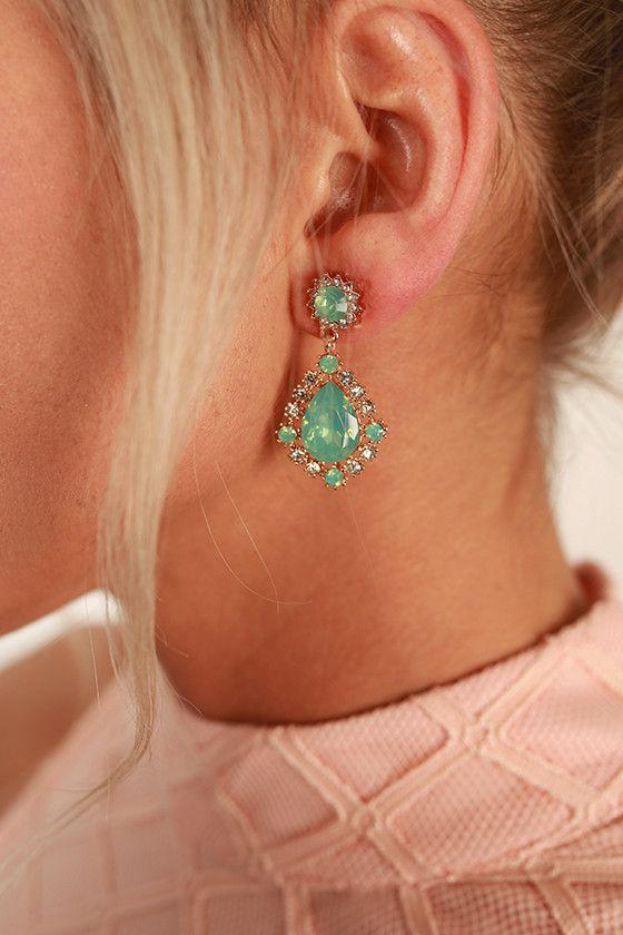 Crystal Clear Teardrop Earrings in Sea Glass