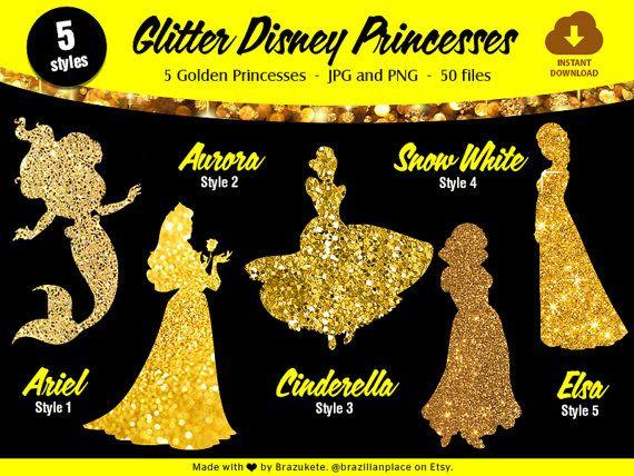 Golden Glitter Sparkle Disney Princesses Pack 1 Digital Paper Png Clipart Scrapbooking Invita Diy Kids Party Decorations Diy Kids Party Kids Party Decorations