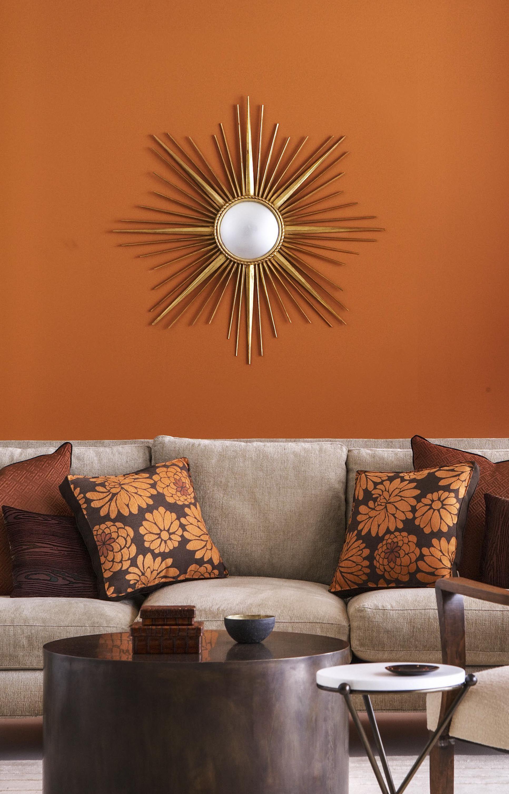 14 Best Orange Paints For The Perfect Pop Of Color Burnt Orange Living Room Decor Living Room Orange Brown Living Room