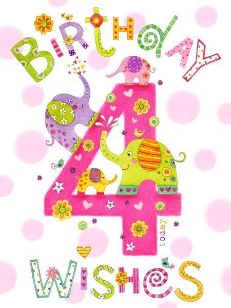 Clare Caddy Girl Age 4 Elephants 8x6 Psd Happy 4th Birthday