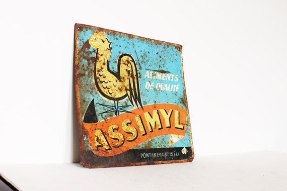 Vintage old French sign  assimyl aliments by AnnaLouVintage, $44.99