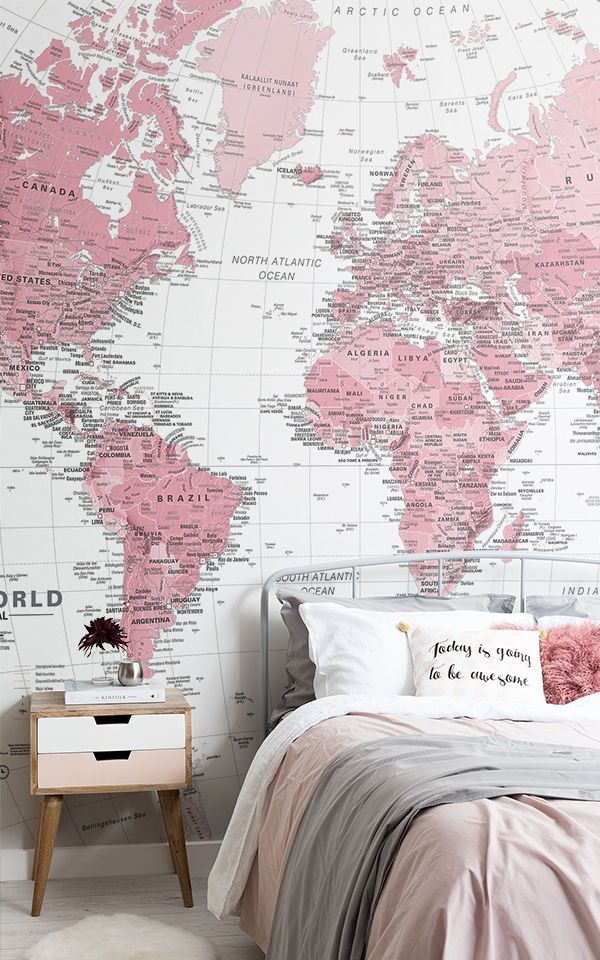 Pink And White World Map Wallpaper Mural Murals Wallpaper Feature Wall Bedroom Wallpaper Bedroom Feature Wall Girl Room