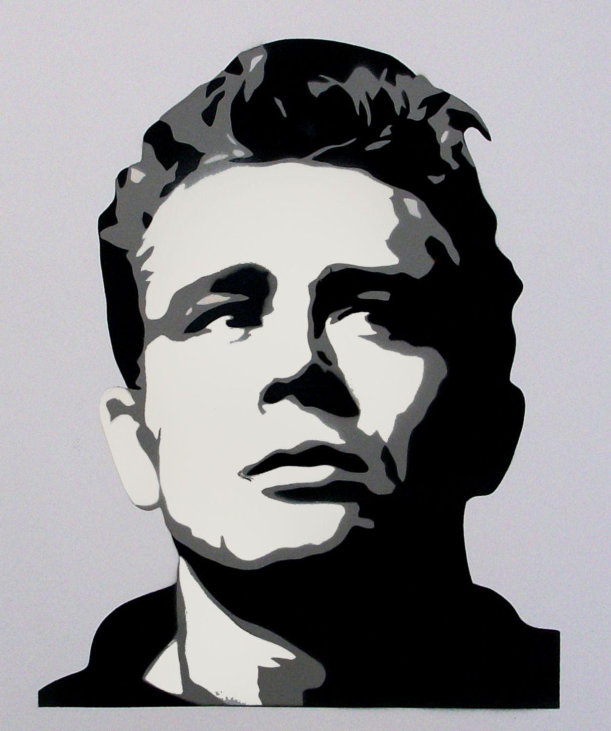 James Dean Retro Portrait Multi Layer Stencil Paint Art ...