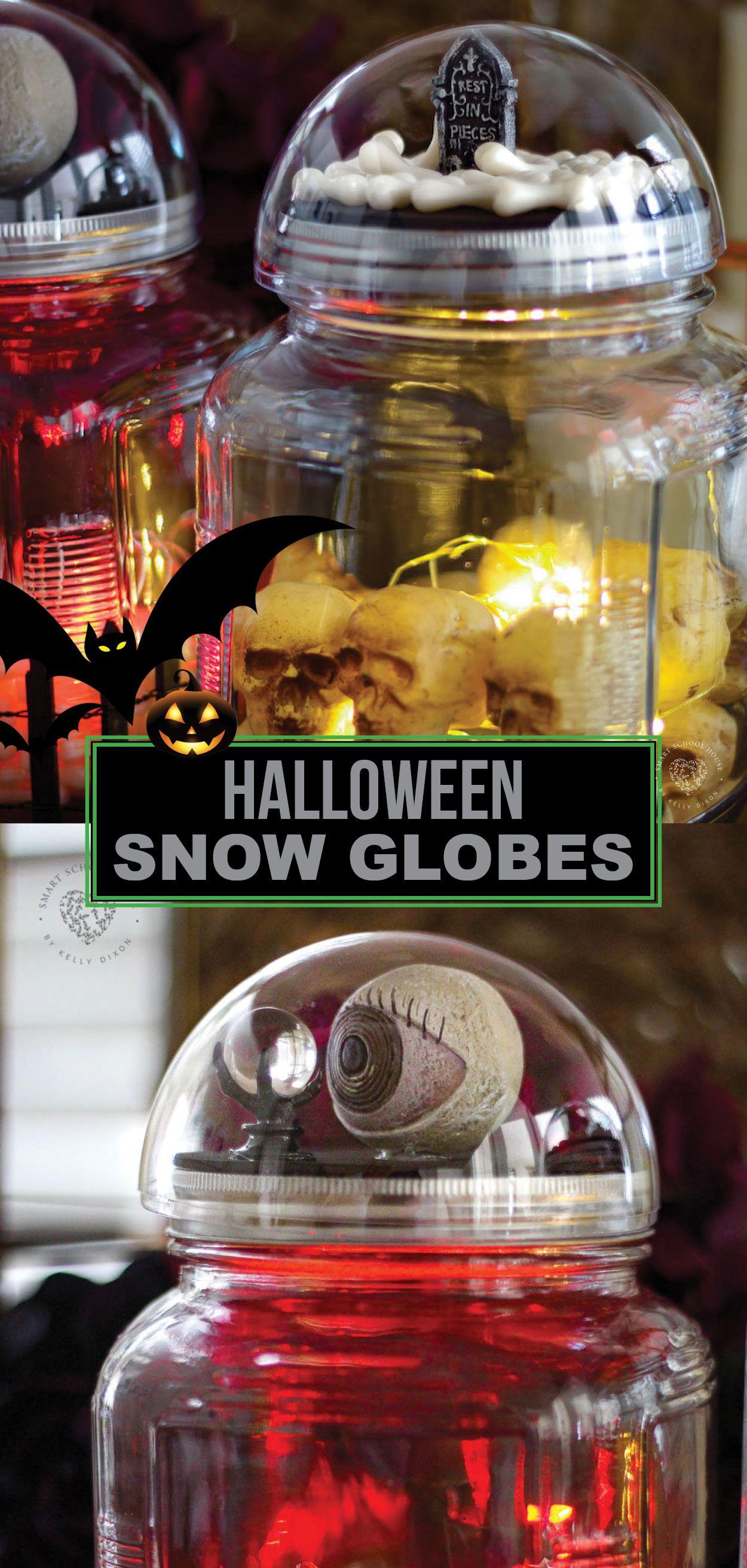 Halloween Snow Globes Snow globes, Glow jars, Glow stick