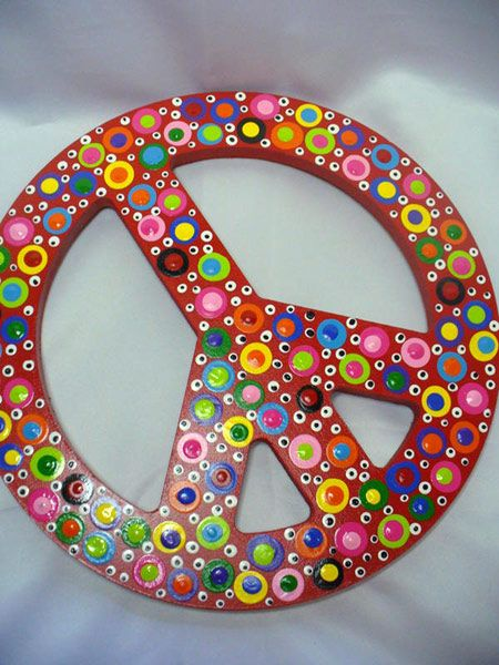 Hand Painted Wooden Polka Dotted Peace Sign-children\'s wall decor ...
