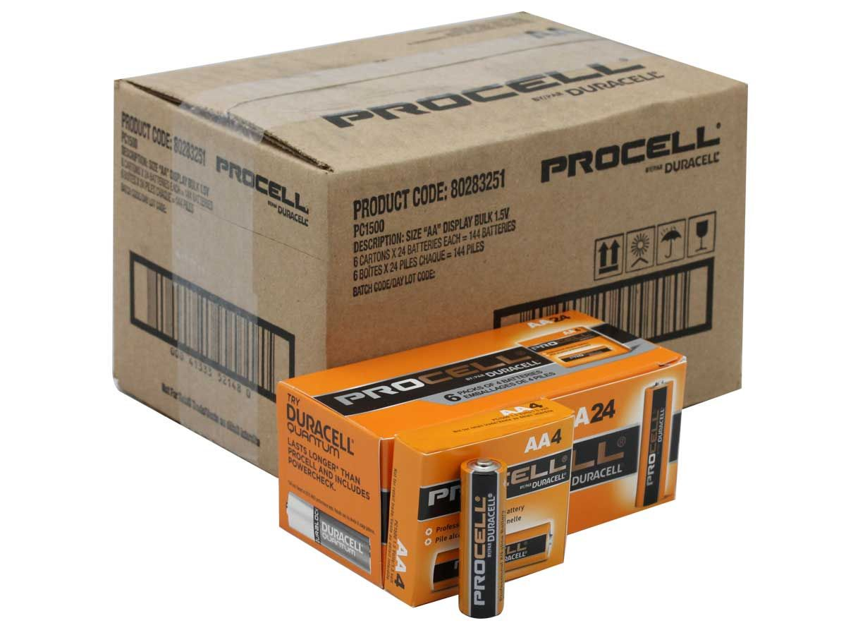 Duracell Procell Pc1500 144pk Aa 1 5v Alkaline Button Top Batteries Case Of 144 Duracell Alkaline Battery Battery Cases