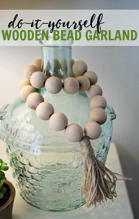 How to create your own wooden bead garlands for less than $10. Super cute and simple home decor project that only requires a couple materials. #style #shopping #styles #outfit #pretty #girl #girls #beauty #beautiful #me #cute #stylish #photooftheday #swag #dress #shoes #diy #design #fashion #homedecor