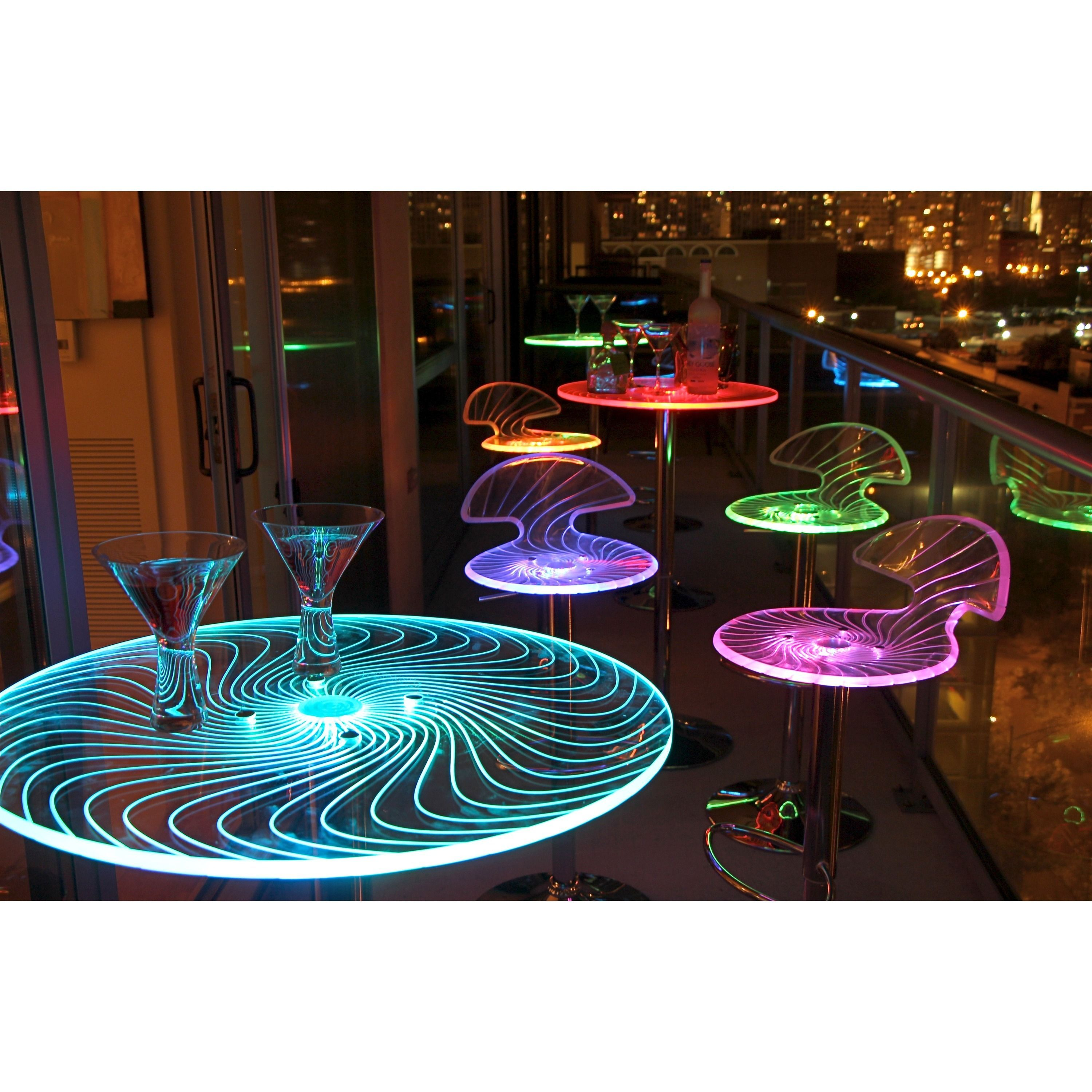 This spyra led light up bar table features a colorful for Acrylic bar top