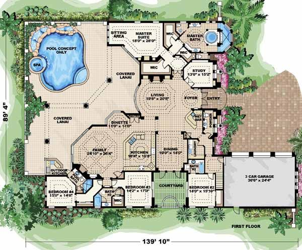 Italian style house plans 5841 square foot home 2 story for Italian house plans with courtyard