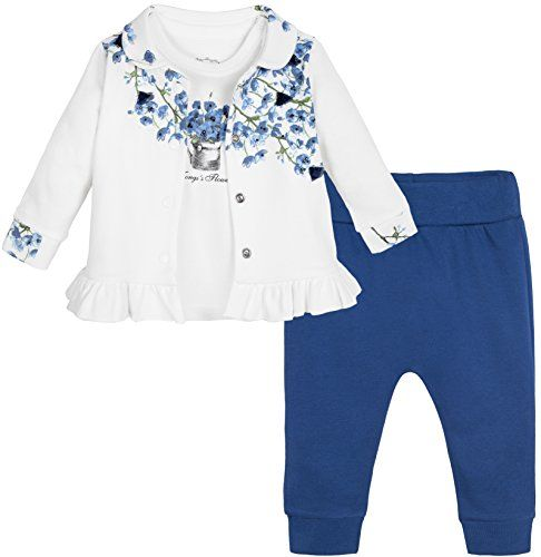 67f1f22d120e Lilax Baby Girl Cotton Flower Print T-shirt Pant and Jacket Occasion ...