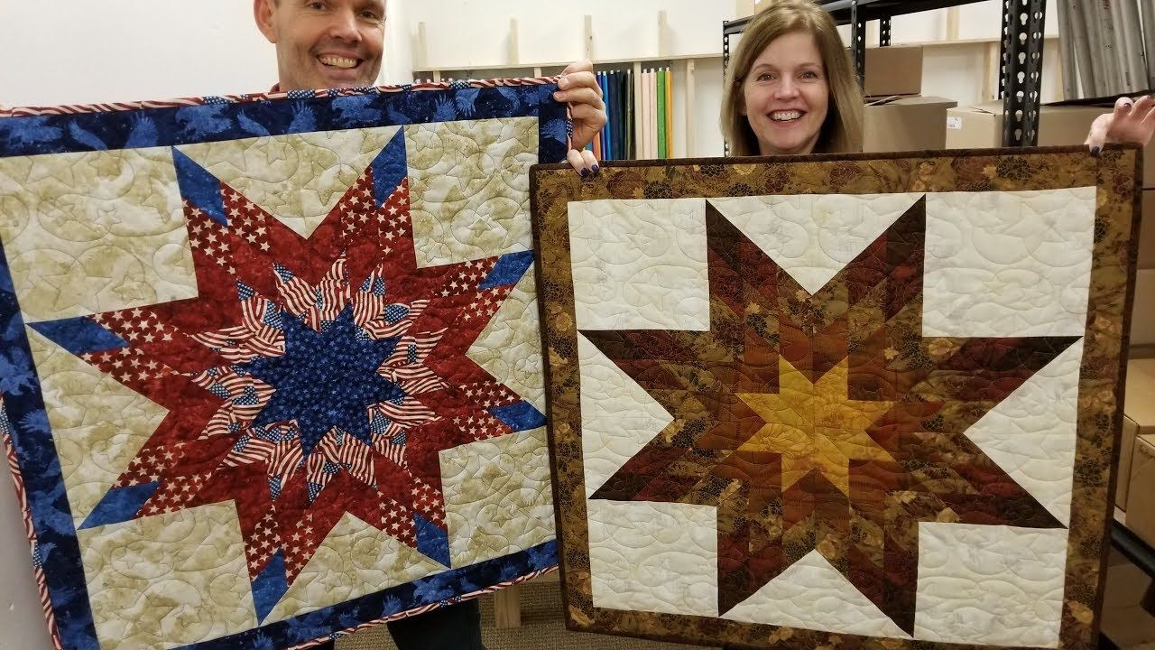 Lone Star From A Jelly Roll Youtube Everything Is On The Straight Of Grain And No Y Seams Lone Star Quilt Star Quilt Kit Star Quilts