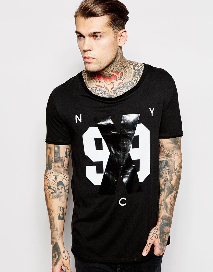 Black t shirt asos - Image 1 Of Asos T Shirt With 99 Print With Stretch Neck And Scooped Hem